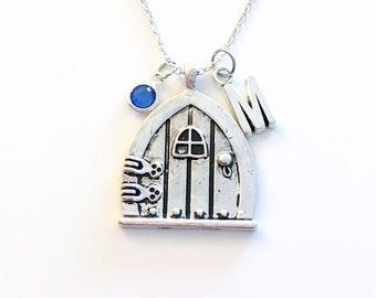 Fairytale Necklace, Fairy Wish Door Jewelry, Fairy tale Jewelry, Personalized Hobbit Alice in Wonderland Gift with initial birthstone 189