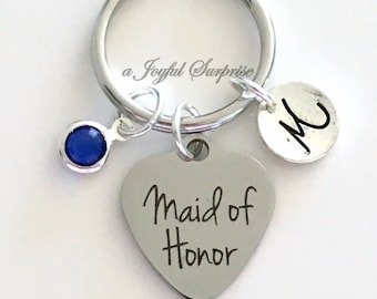 Maid of Honor Keychain Matron of Honor Key Chain Gift for Bridal Party Honour Present Wedding Keyring Initial Personalized Bridesmaid letter