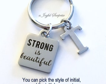 Strong is Beautiful Key Chain, Fight like a girl Keyring, Fitness Keychain, Gift for Workout Crossfit Keyring initial letter custom Charm