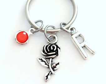 Rose KeyChain, Flower Keyring Beauty Key chain Girlfriend Jewelry Girl Women Woman Personalized Initial Birthstone birthday present stem bud
