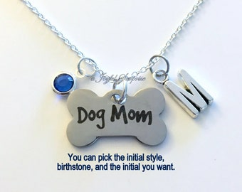 Dog Mom Necklace, Gift for Dog Lover Puppy Breeder Jewelry, Dog Bone charm custom Personalized Initial Birthstone birthday Christmas present
