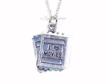 Movie Necklace, Actress Actor's Admission Ticket Jewelry, Cinema Gift for Film Student present I love Movies, Silver Jewelry usher boy girl