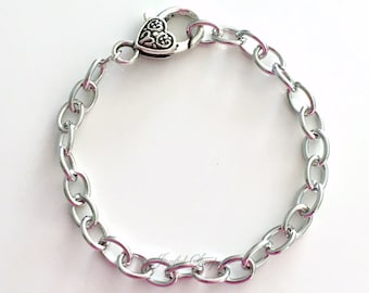 Chain Link Bracelet Antique Silver Charm Bracelet, Can be an Upgrade Purchase or Add on Purchase Charm Bracelet Lobster Heart Clasp Closure