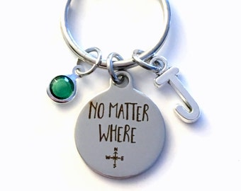 No Matter Where Keychain, Going Away Gift for Best Friend Key Chain Daughter Son Keyring Present Travel Initial Birthstone birthday present