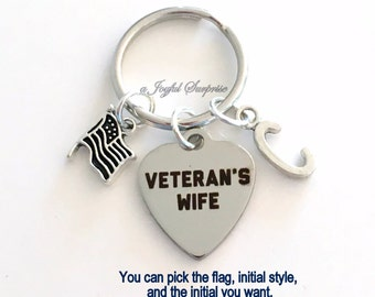 Veteran's Wife KeyChain, American's Key Chain, USA Keyring Gift for Military Spouse Birthday Present silver pewter initial Canada Flag Charm