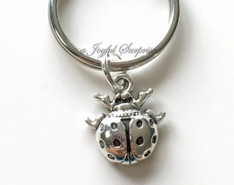 Ladybug KeyChain, Silver Lady Bug Keyring Lady Bugs Key chain Small Bug Animal Gift pewter charm pendant birthday present Christmas purse
