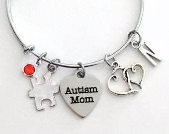 Autism Mom Jewelry, Autism Awareness Charm Bracelet Puzzle Bangle initial Birthstone Present Women Woman Autistic Symbol Double Heart Mother