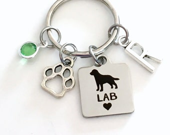 Labrador Retriever KeyChain Lab Key Chain Gift for Dog Mom Keyring Doggie Puppy Jewelry charm Silver Initial Birthstone present Man woman
