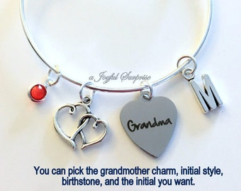 Grandma Bracelet Gift for Grandma Mimi Grammy Nana Granny Grandmother Jewelry Charm Bangle Silver initial Birthstone Birthday Christmas