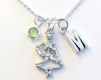 Gift for Halloween Skeleton Necklace, Bone Jewelry Anatomy Zombie Charm Skeletal System Gamer Custom Initial Birthstone birthday present her