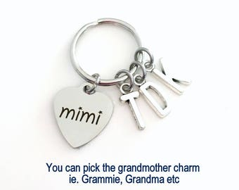 Mimi Key Chain, Multiple letters, Gift for Grandmother Keychain, Grandma Present Grammy Keyring Nana Granny Nanna Grammie Custom Initial