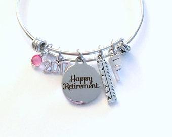 Retirement Gift for Interior Designer Charm Bracelet, Teacher Ruler Mom Women Jewelry Bangle Coworker Present Stainless steel Non tarnish