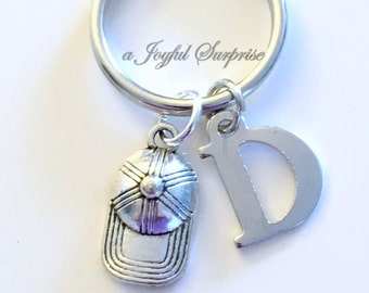Ball Hat Keychain, Baseball Hat Keyring, Baseball Player's Key Chain, Silver Boy Ball Cap Keyring, Boy's Gift Custom Initial Personalized