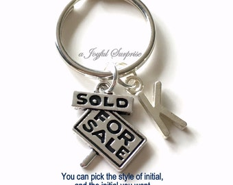 Sold Sign Keychain, House Sale Sign Keyring Real Estate Agent Key Chain New Realtor First home birthday present Christmas Gift purse charm