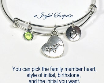 Mom Charm Bracelet Personalized Gift for Granddaughter Silver Bangle Aunt Sister Grandma Jewelry Birthday Present Goddaughter niece wife her