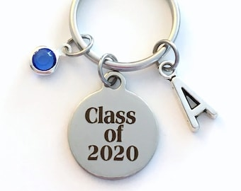 Class of 2020 Key Chain, or 2017 2019 2018 2016 Grad KeyChain, Gift for Graduate Graduation Keyring Birthstone Initial High School College