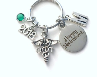 Retirement Gift for OT Key Chain, Occupational Therapist Keychain, 2018 charm Therapy Keyring birthstone Initial letter for her women men