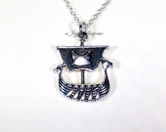 Pirate Ship Necklace, Viking Boat Jewelry gift, Birthday Favor boy men man Silver Ship Charm Long Short Chain Gothic Halloween Vehicle 159