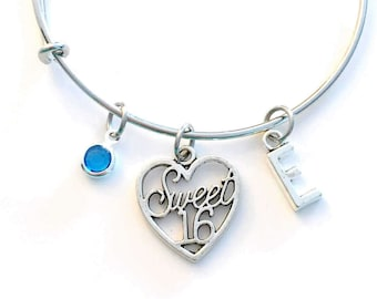 Gift for Sweet 16 Birthday Present, Sixteen Jewelry, Charm Bracelet, Teenage Girl Bangle Silver initial birthstone Daughter Teen Niece BFF