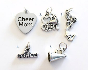 Cheerleading Charm, Add on to any of my listings 1 single Pendant, Silver Cheerleader I love to Cheer Mom Megaphone Pom coach Pewter Charms