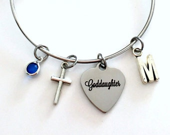 Confirmation Gift for Goddaughter Charm Bracelet, Silver Bangle Jewelry initial letter from Godmother God Mom Mother Godfather Daughter