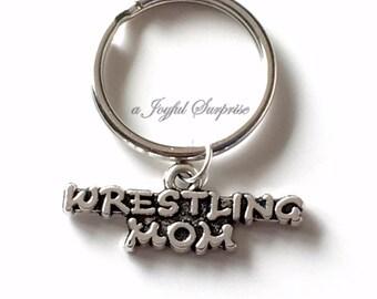 Wrestling Mom Keychain, Silver Wrestler's Mom Keyring, Wrestle Key Chain, Gift For Wrestling Mom Jewelry Wrestling Charm purse charm luggage