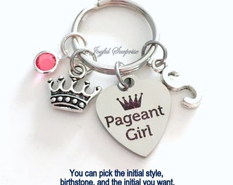 Pageant Girl Key Chain, Beauty Gift for Queen Mom Keyring, Parent Keychain, Personalized Initial Birthstone birthday present Christmas tiara