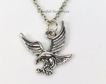 Eagle Necklace for Man, Silver Flying Eagle Jewelry, Gift for Scout Charm, Present for Dad Men Boy Pewter American Eagle pendant USA US