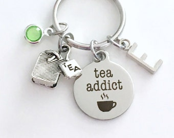 Tea Addict KeyChain, Bag Keyring, Gift for Tea Lover Key chain Silver Jewelry Drink Party Charm Initial Birthstone birthday present Teacher