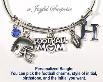 Football Mom Charm Bracelet, Football Helmet Bangle Jewelry Silver Sports Pendant initial custom personalized birthstone Seller in Canada
