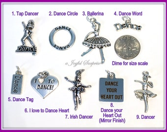 Dance Charm, Silver Dance Pendant, Your choice Tap Dancer, Circle, I love Dance, Irish Dancer, Ballerina, Dance your Heart out single ballet