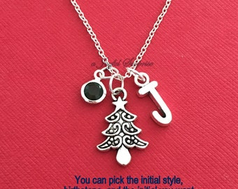 Christmas Tree Necklace, Pine Jewelry, Gift for School Secretary Silver charm Initial Birthstone Holiday present Day care worker Daycare her
