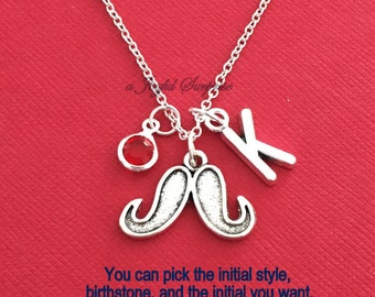 Mustache Necklace, Movember Jewelry, Gift for Christmas Silver charm Initial Birthstone Holiday present Short Long Chain Grandson son Dad