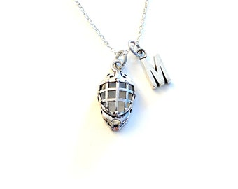 Goalie Necklace, Silver Helmet Mask Charm, Hockey Keeper Jewelry, Gift for Goalie, Pewter Pendant Birthday Present with silver initial 196