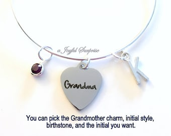 Grandma Bracelet, Gift for Grandmother Jewelry Mimi Nanny Nana Grammy Charm Bangle Silver initial Birthstone Personalized Custom worlds best