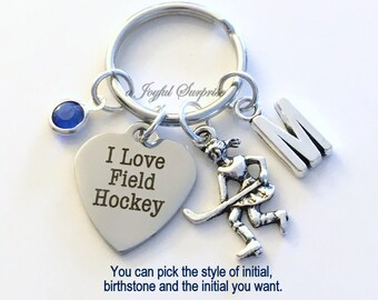 Field Hockey Keychain, I love Field Hockey Key Chain Gift For Player Keyring Birthday Present Christmas initial birthstone Purse Charm team