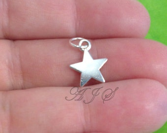 Add on a Star Charm to any of my listings, Tiny Solid Antique Silver Star Charm Sport Superstar Gift Jewelry, Gifts for Players 30
