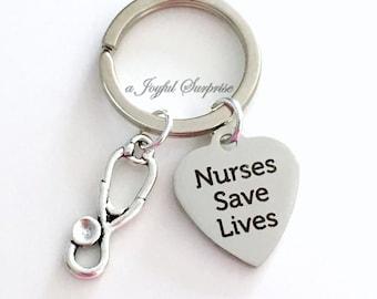 Nurse Keyring, Nursing Gift Nurse's KeyChain Nurses Save Lives stethoscope purse charm planner luggage tag MSN RN LPN Graduation Man Male