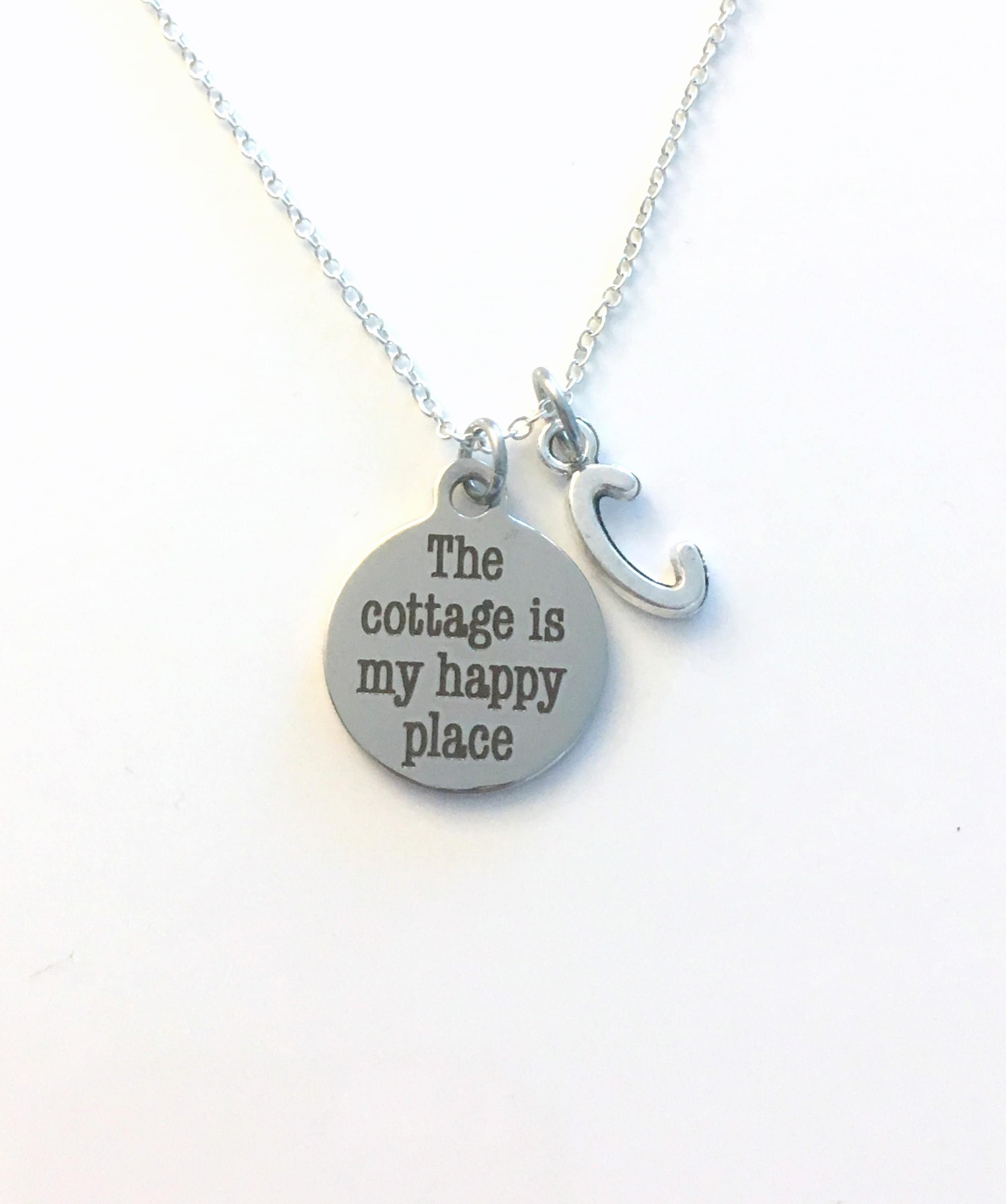 The Cottage Is My Happy Place Necklace Retirement Jewelry Gift For