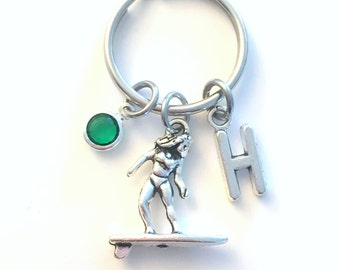 Surfer Keychain, Surfing Key Chain, Surf Board Keyring, Charm Letter Initial Present her him women Gift for Friend Girl Boy Guy Woman Men