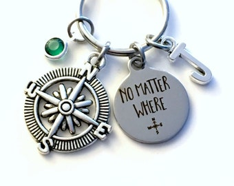 Going Away Gift, No Matter Where Keychain, Compass Key Chain Daughter Son Keyring Present Travel Initial Birthstone birthday present Mom Dad