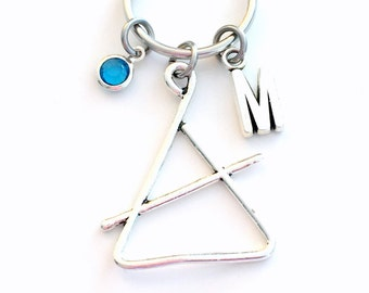 Triangle Keychain / Percussionist Band Instrument Key Chain / Gift for Percussion Player Keyring / Silver Musician Musical Music present