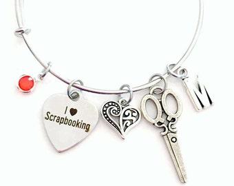 Scrapbook Jewelry, I love Scrapbooking Charm Bracelet, Gift for Mom Bangle initial Birthstone Present Women Woman Heart Craft Scrap Book
