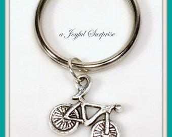 Bicycle Key Chain, SMALL Bicycle Keychain, Personalized Keychain, Biker Keychain, Bicyclist Gift Keychain, Triathlon Keychain summer vehicle