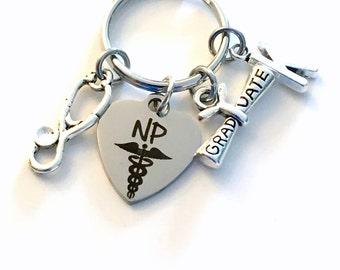 NP Graduation Gift, NP Keychain, Keyring for Nurse practitioner, Graduate Key chain Medical Caduceus initial letter Grad Nursing her him men