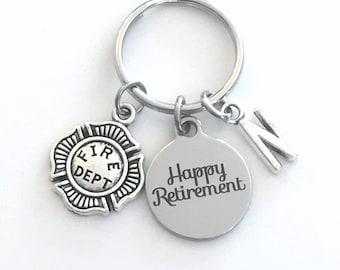 Retirement Gift for Firefighter Keychain / 2021 Fireman Key chain / Firemen Keyring / Happy Retire Coworker / Fire Him Her Dad