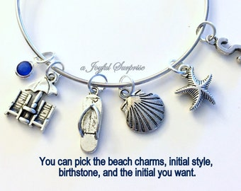 Beach Charm Bracelet Gift for Marine Wedding Bridesmaid Bridal Party Bride Silver Bangle custom personalized, initial letter jewelry shell