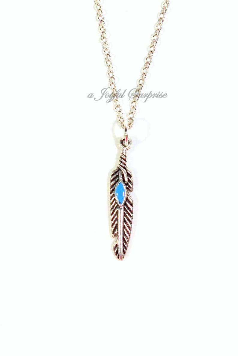 Silver Animal Gift for Birdwatcher Dainty Blue Charm Native American symbol  men women her pewter Feather Necklace Peafowl Feather Jewelry