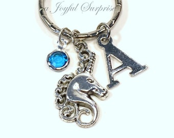 Unicorn Keychain, Fairy Tale Keyring, Fairytale Key chain Horse Gift for Magical Jewelry, Animal tag Initial Birthstone Purse charm Planner
