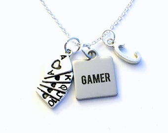 Gamer Necklace, Boyfriend Christmas Gift for Poker Player Jewelry, Birthday Present for Son, Deck of Cards Player Teen Teenage Boy Men him